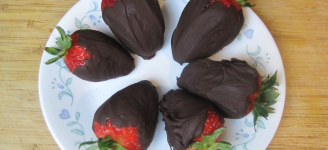 Simple chocolate covered strawberries!